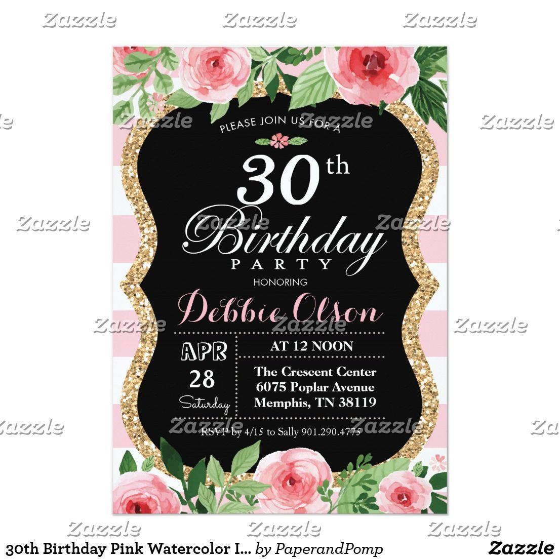 30th Birthday Pink Watercolor Invitation Fun Party Invites