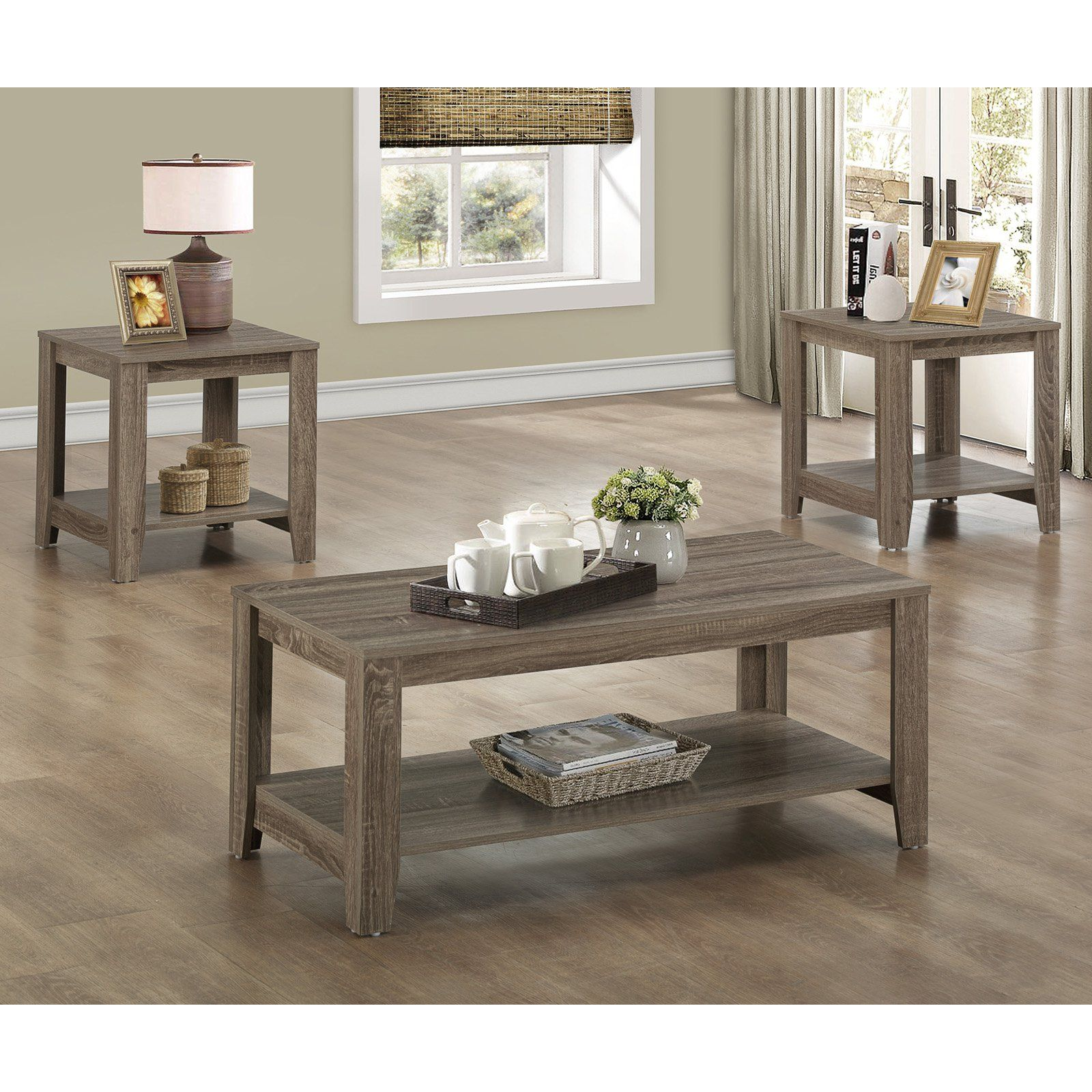 Monarch Specialties 3 Piece Occasional Set Dark Taupe 3 Piece Coffee Table Set Coffee Table Living Room Table Sets [ 1600 x 1600 Pixel ]