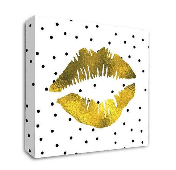 Gold Lips wall art, Black and white canvas art, Wall decor,Modern ...