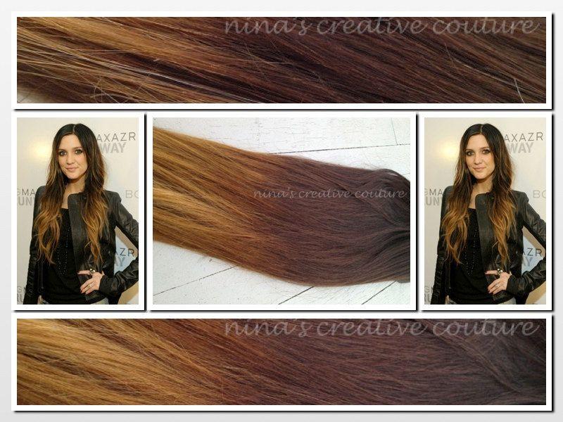 Ashley Simpson Inspiredombre Hair Extensionsdipdyedark Brown