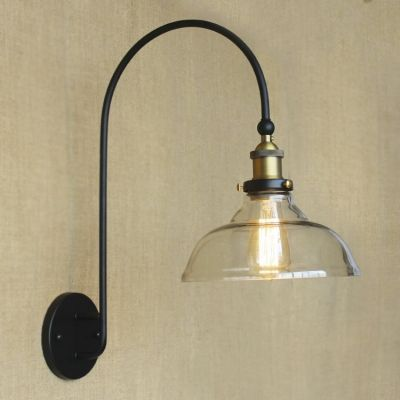 Tall Matte Black Light Clear Glass Gooseneck Wall Sconce Lamp Shade