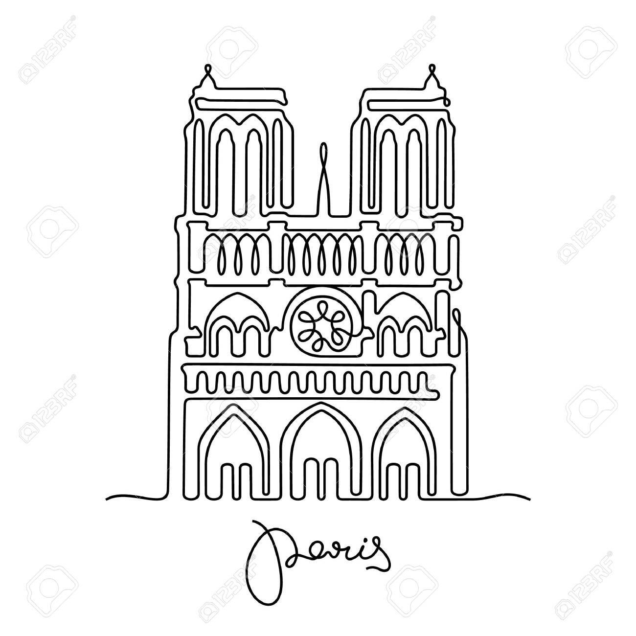 Paris Notre Dame De Paris One Line Vector Illustration Vector Illustration De Paris Paris
