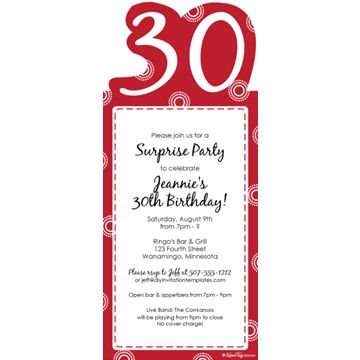30 Birthday Invitation Wording