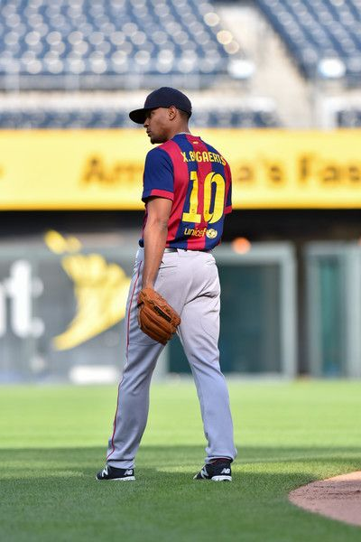 detailed pictures 1b1d5 8466c Xander Bogaerts, BOS, in his custom FC Barcelona jersey//May ...