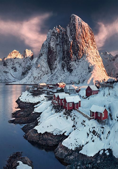 Sunset, Lofoten, Norway - when I see pictures of homes in places like this I just think, who lives there?? I'm a speck of dust on a speck of dust on a speck of dust