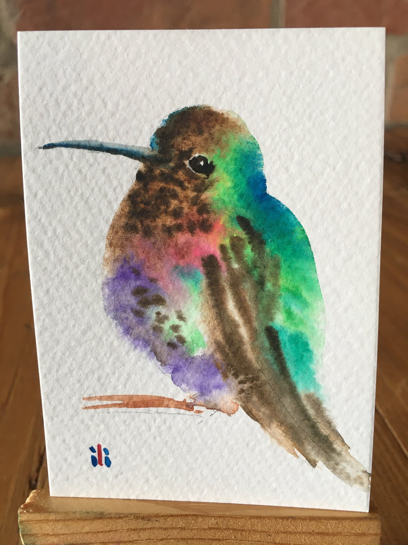Aceo miniature original watercolor painting cute humming