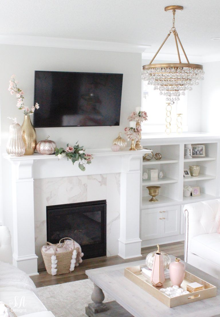 Television Over Fireplace Design Blush Pink Glam Fall Mantel Fall Inspiration Fall Mantel