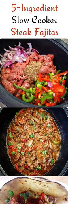 {VIDEO} 5-Ingredient Slow Cooker/Instant Pot Steak Fajitas (Low-Carb, Paleo, Whole30) - Fit Slow Cooker Queen