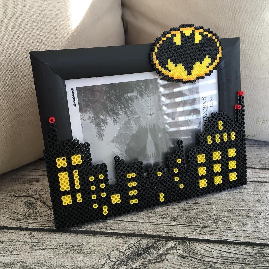 Batman photo frame perler mini beads by hollohandcrafted - Hama beads cuadros ...