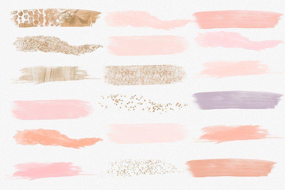 Watercolor Brush Strokes Peach Gold Watercolor Brushes Brush