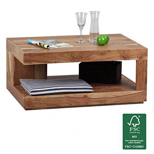 FineBuy Couchtisch Massiv-Holz Akazie 90 cm breit Wohnzimmer-Tisch - Wohnzimmer In Weis Und Braun