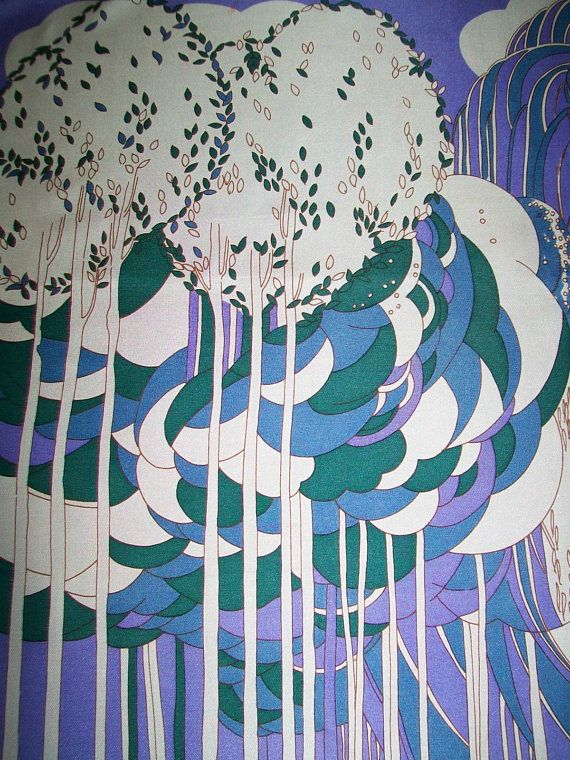 Richard Allan Silk Scarf Trees Purple Blue Green White