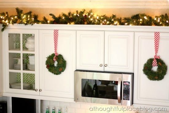 New Christmas Decorating Above Kitchen Cabinets