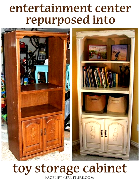 Center Converted Into Toy Cabinet In 2020 Toy Cabinet Repurposed Furniture Entertainment Center