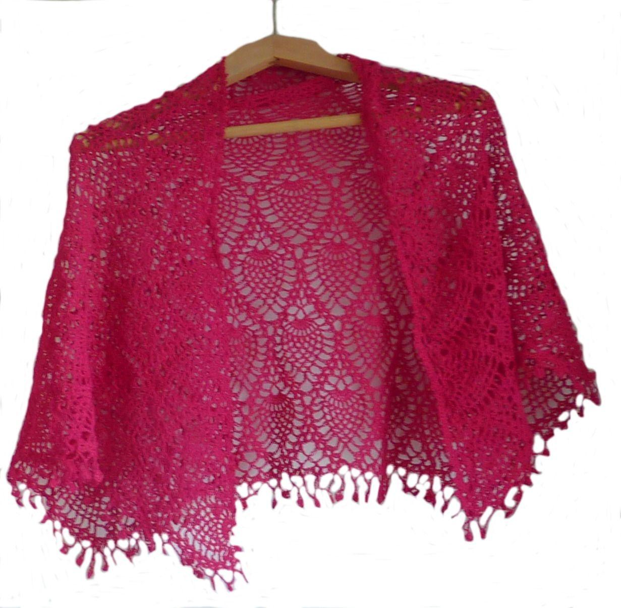 f86bf53e8c41 Nouveauté, Châle bordeaux rouge au crochet motifs ananas   Echarpe,  foulard, cravate par les-envies-de-marie-annick