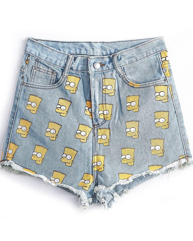 Simpson Print Denim Shorts £9.60