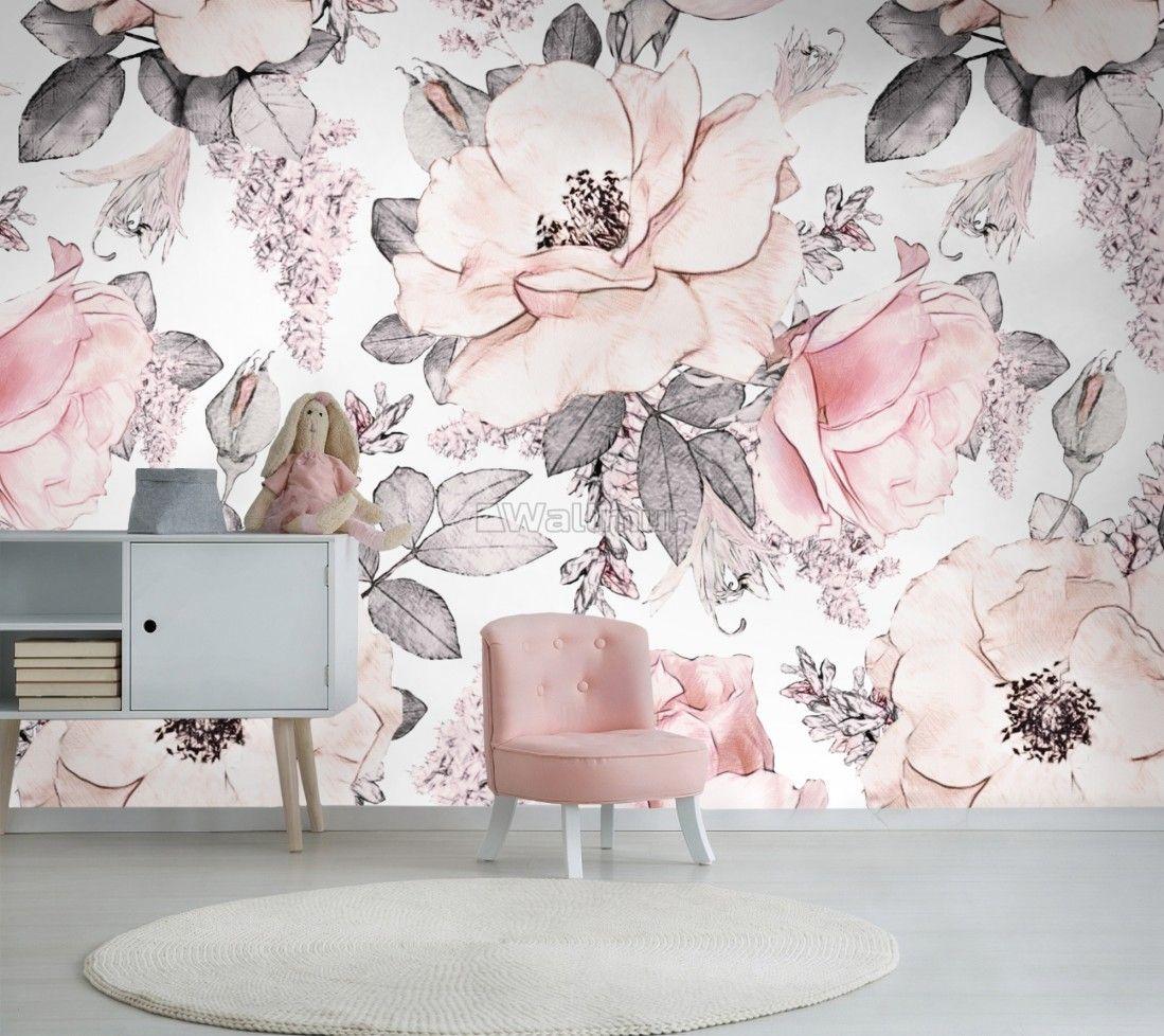 Kids Floral Pink Rose Pattern Wallpaper Mural Pink