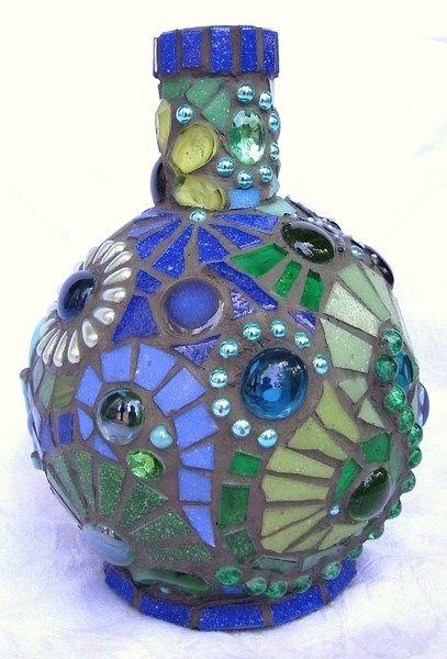 Poseidon: Mosaik Flasche in Grün und Blau von Waschbear Designs auf DaWanda.com