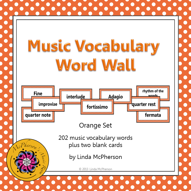 Music Word Wall Orange School Stuff