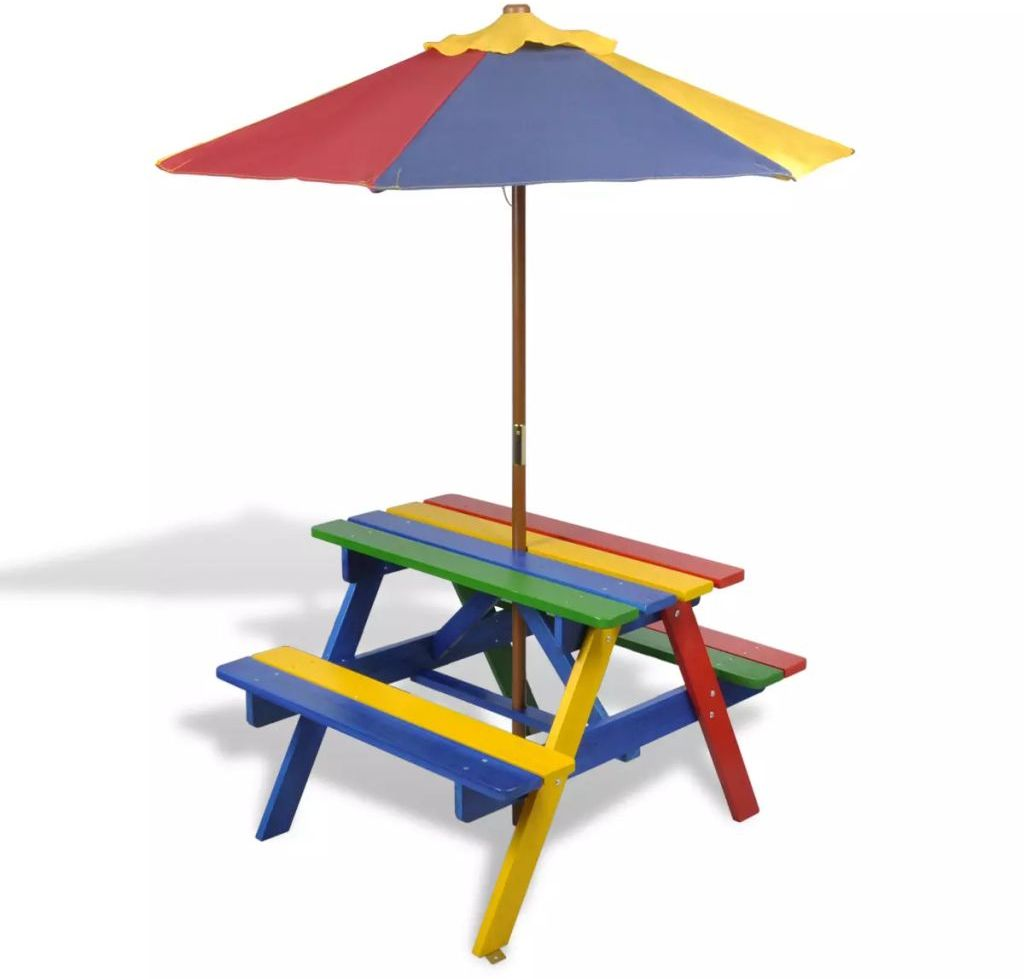Outdoor Kids Picnic Table And Benches With Parasol In Four Multi
