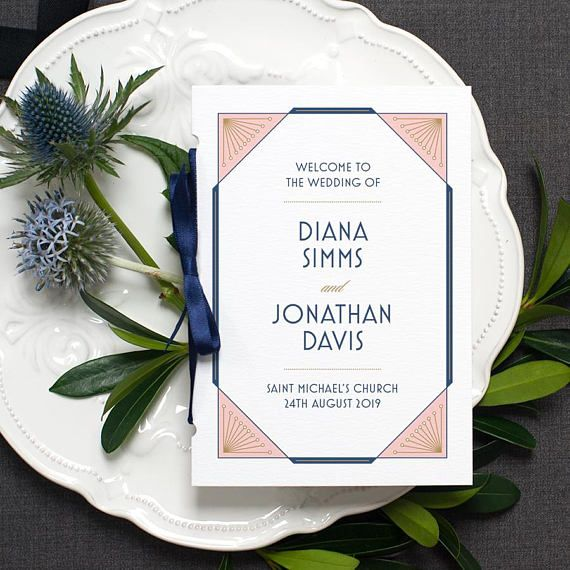 Art Deco Wedding Program / 'Gatsby' Pocket-sized Order Of