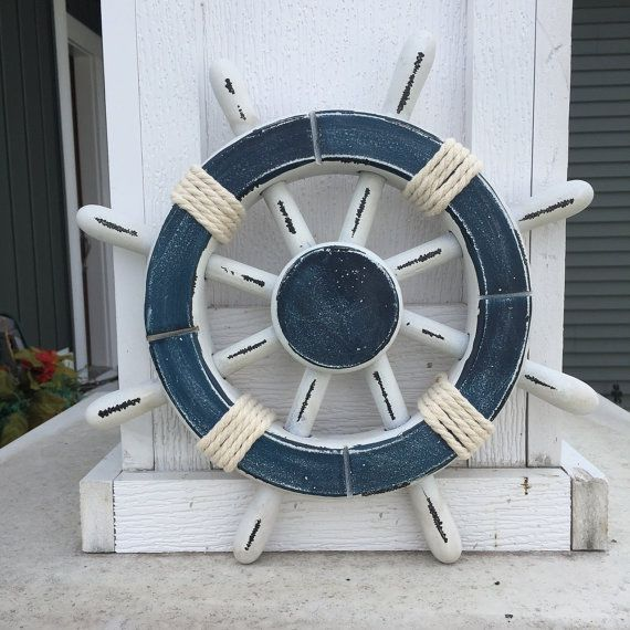 Rustic White And Dark Blue Nautical Ship Wheel Decorative Etsy Nautical Decor Ship Wheel Decor Vintage Beach Decor