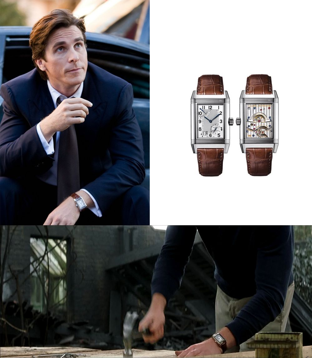 Bruce Wayne AKA Batman (Played by Christian Bale) sports the Jaeger Le-Coultre Reverso Grand Date. Very suiting for a billionaire don't you think?