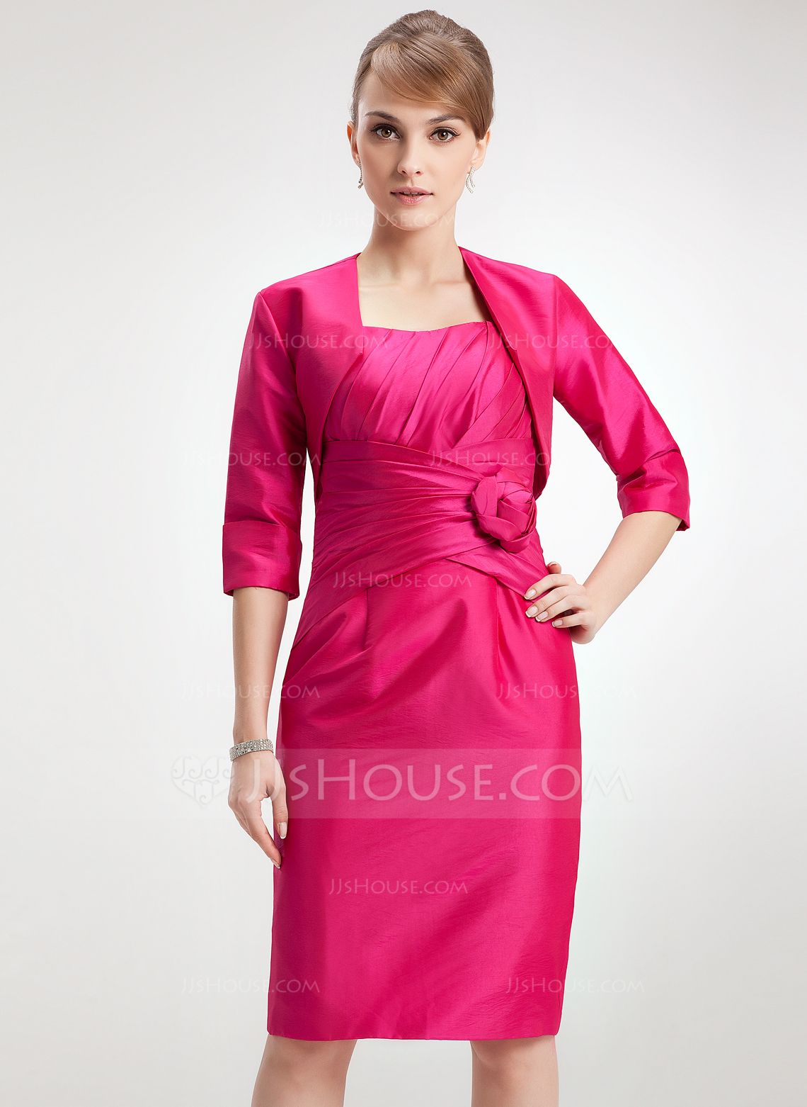 82d000fa246 Sheath Column Scoop Neck Knee-Length Taffeta Mother of the Bride Dress With  Ruffle