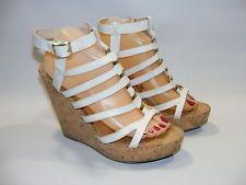 """Steve Madden Women's White Strappy 4"""" Wedge Platform Sandals Shoes Size 9 M http://ift.tt/1WKTblV"""