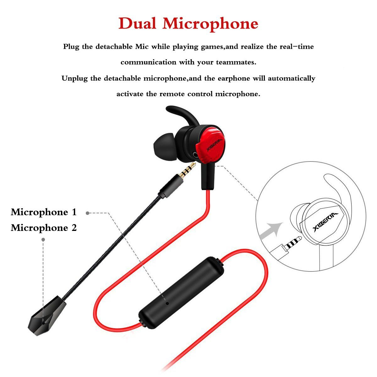 Gaming Earbuds With Mic For Nintendo Switch Xbox One Ps4