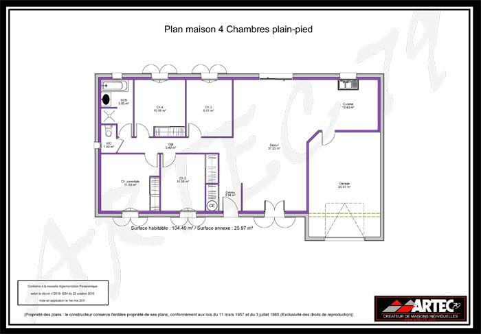 plan de maison plain pied 4 chambres avec garage. Black Bedroom Furniture Sets. Home Design Ideas