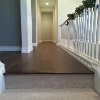 Incredible Floors Meticulous Transition From Carpet For Upstairs Hardwood Hallway Yelp Hallway Flooring Carpet Stairs Carpet Staircase
