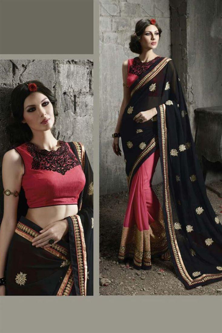 Pink-Black #Georgette Designer #Saree for Festival $-72