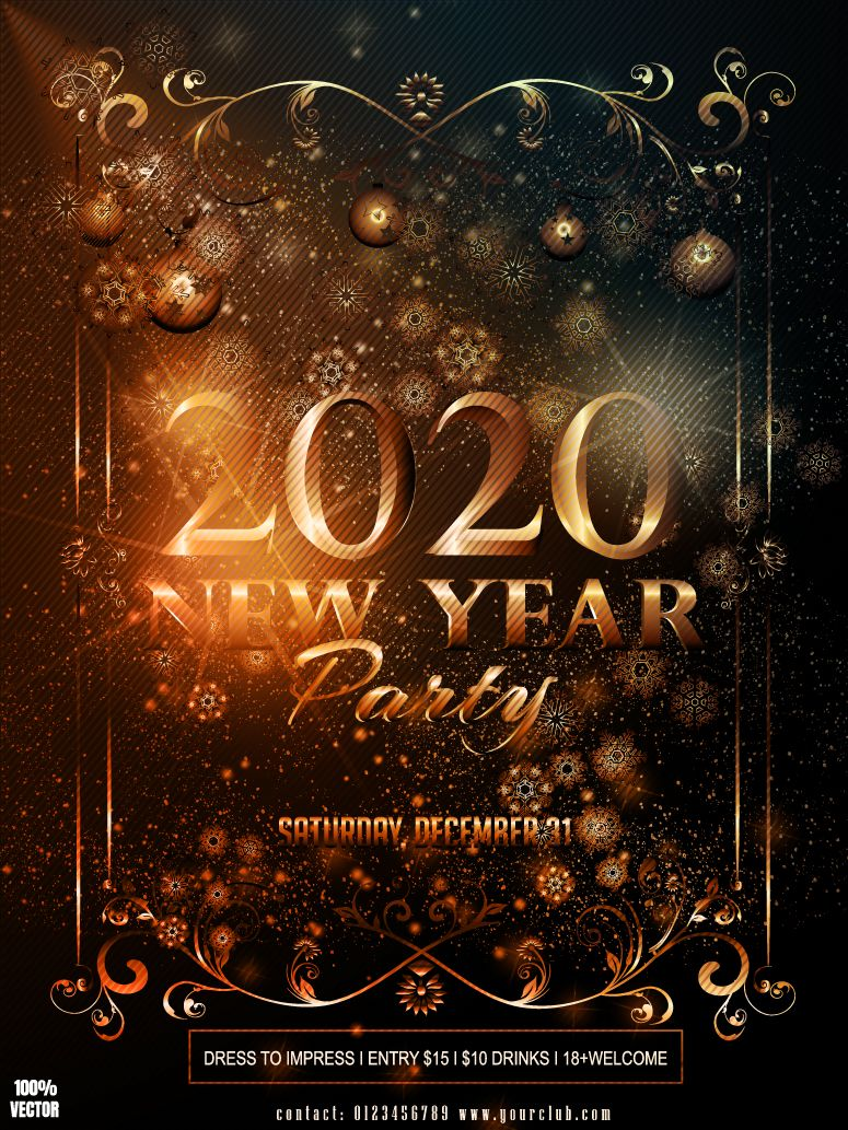 2020 christmas flyer new happy year 2020 Happy New