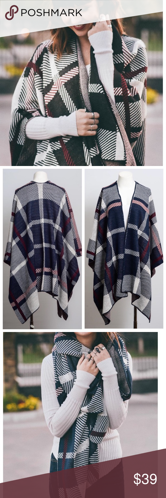 🆕 Fall Plaid Poncho & Scarf COMING SOON!  PRE-ORDER NOW!  This plaid poncho is sure to make a statement this fall and winter season.  Pair it up with a cute set of tall or short boots.  Wrap up to stay warm or turn it into a cute chunky scarf!  No trades. Sweaters Shrugs & Ponchos