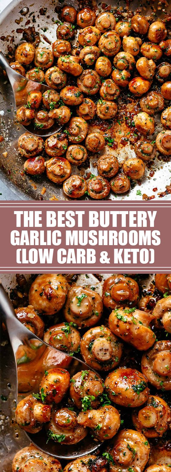 The Best Buttery Garlic Mushrooms | You will love this easy and delicious 10-minute side dish that pairs with anything! Low carb and Keto approved! #keto #lowcarb #vegan | foodgasm.club #lowcarbeating