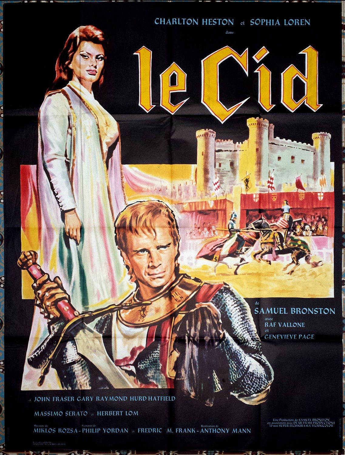 1961 el cid le charlton heston sophia loren 47x63 french