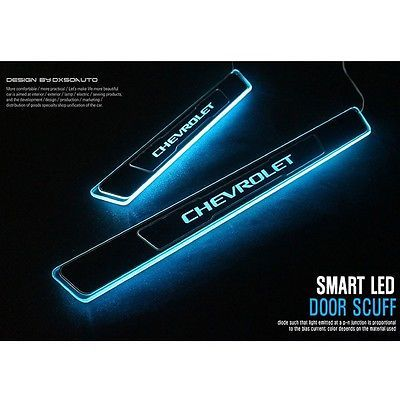 Brand New Blue Led Light Door Sill Scuff Plate For Chevrolet