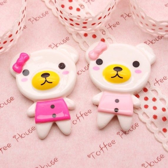 Pretty Bear with Bow Cabochon in Big Size   6pcs by SophieToffeeCo
