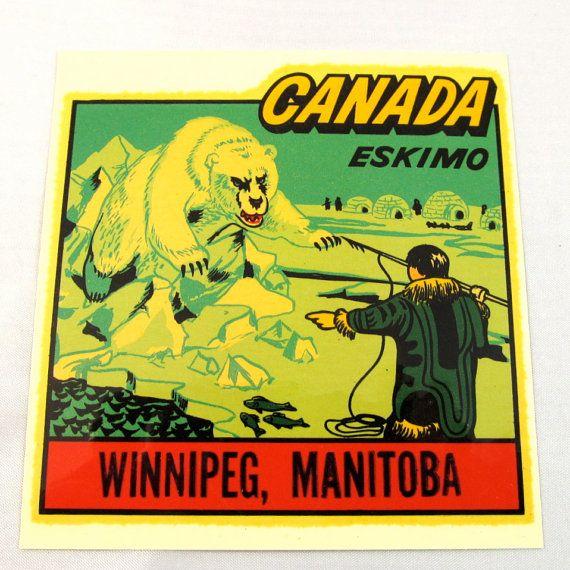 Vintage Winnipeg, Manitoba Travel Decal | Winnipeg | Vintage