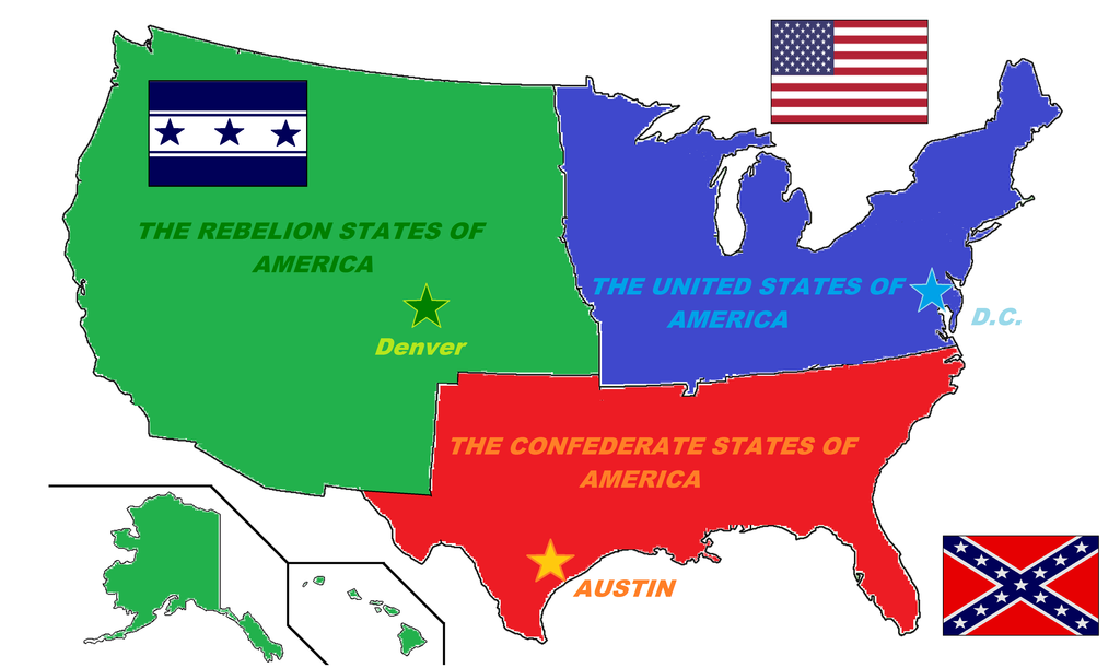 Fictional Map of the U.S.A (2nd Civil War Map) by Zaduky500 ...