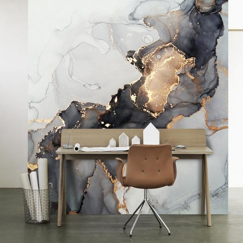 Black Grey Gold Yellow Marble Design Wallpaper Peel And Stick Natural Stone Wall Mural Living Room Stylish Modern Wall Art Easy Removable In 2021 Grey And Gold Wallpaper Yellow Marble Modern Mural