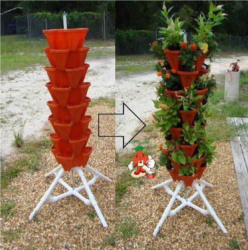 Vertical Gardening Tiered Tower Indoor Outdoor Backyard Pvc Plant Stands And Pots Tall Standing