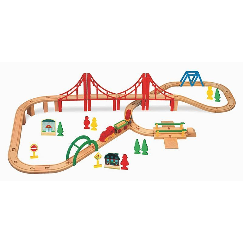 wooden train set 60 pieces google search aedel 39 s trains pinterest wooden train and train set. Black Bedroom Furniture Sets. Home Design Ideas