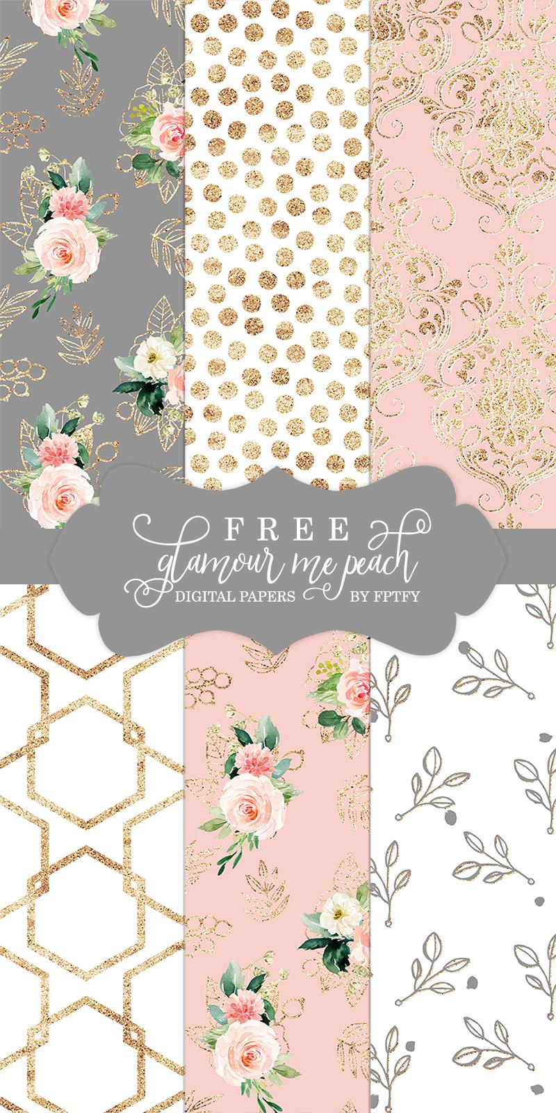 Free Glamour Me Peach Digital Paper Background Free Digital Scrapbooking Paper Digital Paper Freebie Free Scrapbook Paper