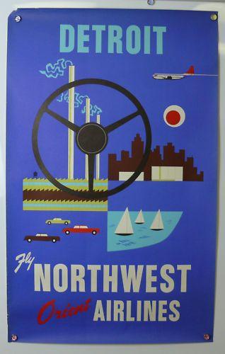 Detroit Travel Poster 1960's