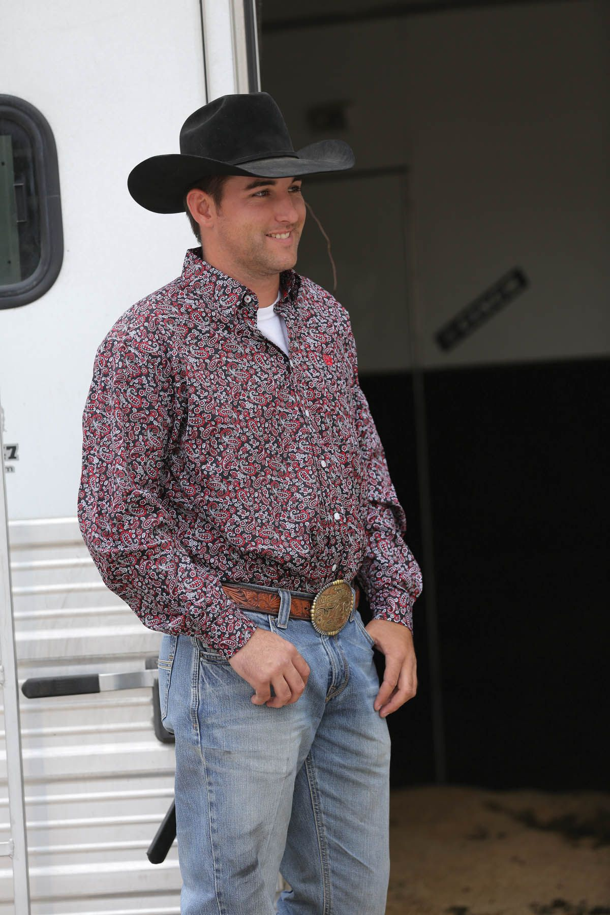 Cinch 174 Men S Shirt Black Red White And Grey Paisley