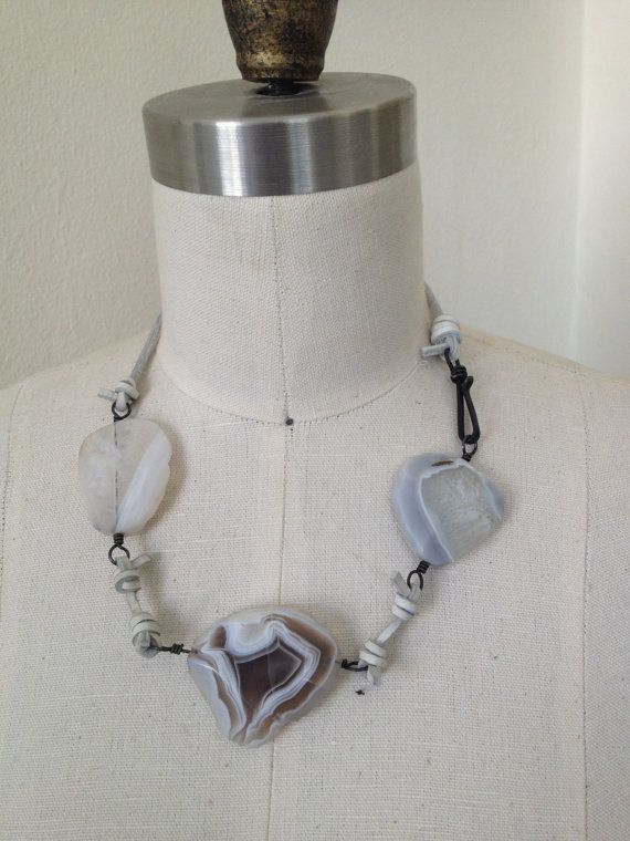 Agate and Leather Stones throw necklace in fog by hollybobisuthi, $142.00