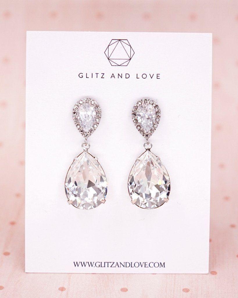 Swarovski Crystal Teardrop Earrings & Necklace | Bridal ...