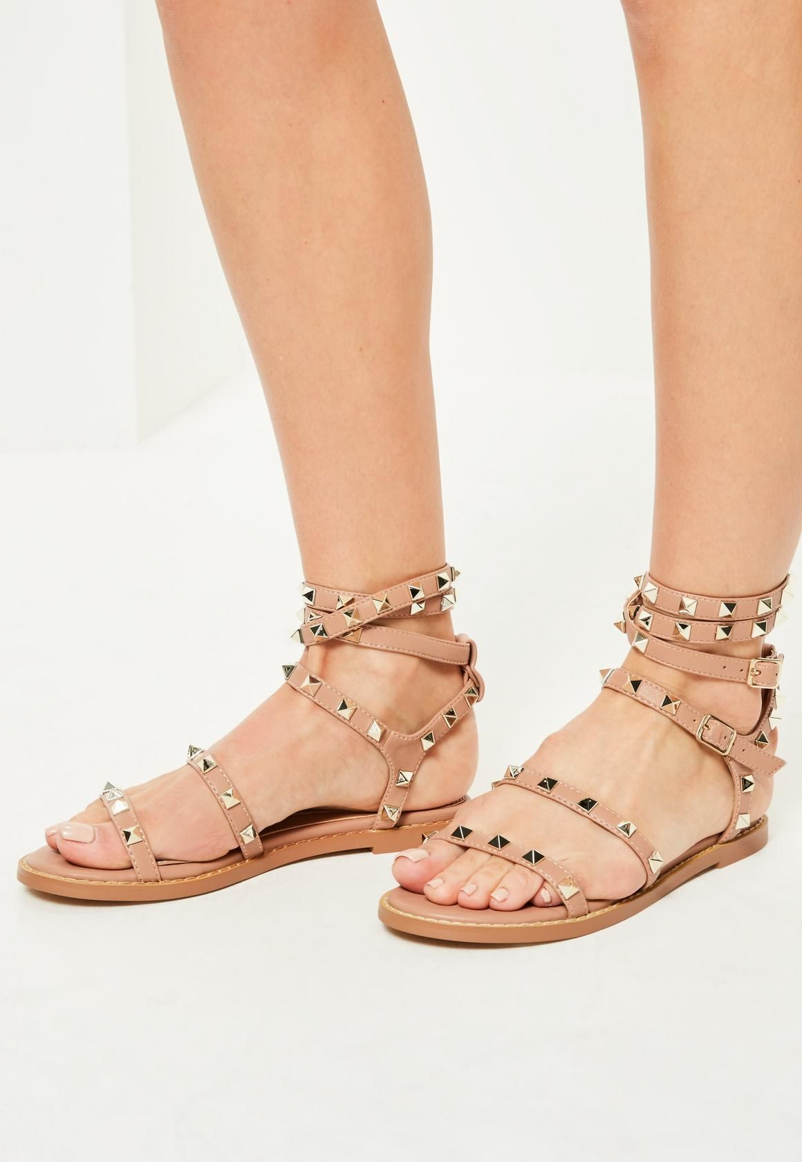 fee8bb9b5d8d Missguided - Nude Studded Gladiator Sandals